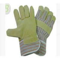Wholesale Cut Resistance Grain Pig Skin Leather Gloves with Grey - Red - Orange Striped Cotton Back from china suppliers