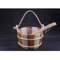 Smoothy Carved Sauna Products Pail Bucket And Spoon Set With Liner For Dry Sauna Room