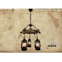 Wholesale Maso Vintage American Natural Style Pendant Lamp Resin Material with Metal Kerosene Lamp Three Lights Black Wood Color from china suppliers