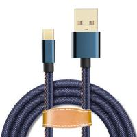 Wholesale Denim Fabric Braided USB Type C Cable Custom Length Aluminum Connector from china suppliers
