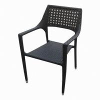 Quality Outdoor Furniture, Stack Rattan Chair with Flower Weaving Back for sale