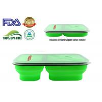 Wholesale 900 ML Protable Green Tow Compartment Collapsible Silicone Food Containers from china suppliers