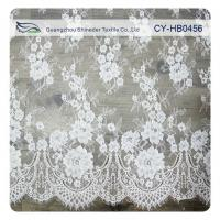 Wholesale Wedding Floral Eyelash Lace Trim , Eyelash Lace Fabric Wholesale UL Tested from china suppliers