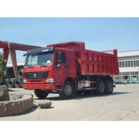 Quality Red Dump Tipper Truck With Payload Ventral Lifting 3 Seats And Sleeper for sale