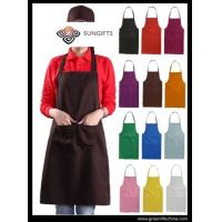 Wholesale 100%Polyester advertise apron assorted colors customized logo available for cooking clean from china suppliers