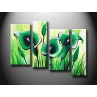 Wholesale Green Flower Set New Design Handmade Oil Painting On Wood Board, Canvas board hht1052 from china suppliers