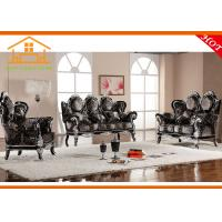 Quality New model antique royal italian furniture luxury wood carved leather blue sofa furniture sets for sale