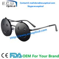 Wholesale Round Circle Vintage Smile Face Double Layer Clamshell Sunglasses from china suppliers