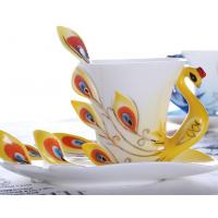 Quality ceramic hand-drawing cup peacock shape for sale