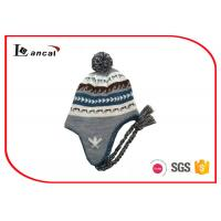 Wholesale Grey Cable Knit Trapper Hat Pom And Braid 52cm Kids Winter Hats With Brim from china suppliers