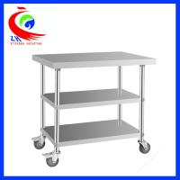 Wholesale Detachable 3 layer Stainless Steel Work Table with casters trolley from china suppliers