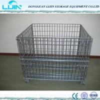 Wholesale Grey Foldable Wire Mesh Cages For Workshop Pallet Metal Crate Front Drop Gate from china suppliers