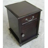 Wholesale HPL Top Dark Wood Nightstand With Drawers , Narrow Bedside Table Night Stand from china suppliers