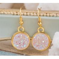 Wholesale Faux Pink Rose Gold Druzy Earrings Genuine Rose Quartz Dangle , High Light from china suppliers