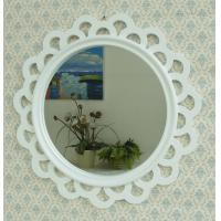 Quality Decorative hollow out wavy edge framed round wall mirror for sale