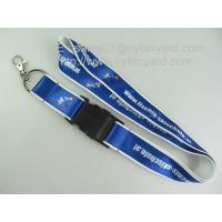 Wholesale Transfer print satin label overlay lanyards with metal egg hook,custom satin lanyards, from china suppliers