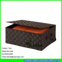 Wholesale LDKZ-022 popular brown strap woven basket double woven storage box with hinged lid from china suppliers