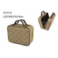Wholesale Square Zippered PU Makeup Cosmetic Bag , Brown Makeup Bag Personalized from china suppliers