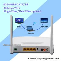 Wholesale high quality EPON CATV ONU with 4GE/4FE Wifi CATV ONU support IPTV 4GE CATV EPON ONU from china suppliers