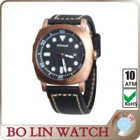 Wholesale Male Designer Black Bronze Mens Watch Italian Genuine Leather Strap from china suppliers