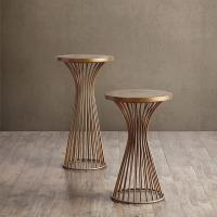 "Wholesale Industrial Setting Solid Wood End Tables , 24"" Pedestal Dark Wood Side Table from china suppliers"