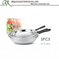 Wholesale Hot sales Stainless steel frying pan Set 22cm, 24cm, 26cm Bakelite handle from china suppliers