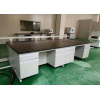 Buy cheap White Wood Lab Workbench Furniture With Steel Frame For High School / Hospital from wholesalers