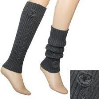 China Jacquard decorated White / Gray / Black Acrylic Knitted Leg Warmer Pattern For Women on sale