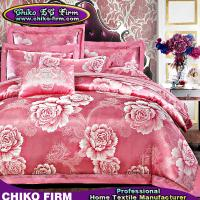 Buy cheap Wholesale Pink Color Flower Designs Cotton Jacquard Bedding Sets from wholesalers