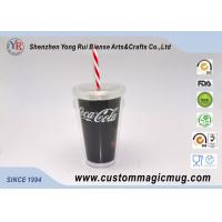 Wholesale Large Tea / Coffee Double Wall Party Plastic Cups With Lids And Straws from china suppliers