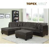 Gray Corduroy Sectional Sofa 2pc Set Sofa Couch Chaise Sofa Set With Table Quality Fabric Sofas