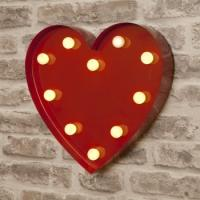 Wholesale Vintage Red Heart Shape Metal 9'' LED Light Up Letters Circus Style for Lovers from china suppliers