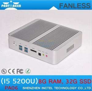 Quality Fanless Mini PC Intel Core i5 5200u with HD Graphics 5500 Mini ITX PC with Dual Gigabit La for sale