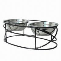 Buy cheap Pet feeders, made of handcrafted in solid wrought iron with two stainless bowls from wholesalers