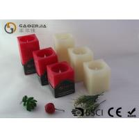 Square Wax Flameless Led Candles Red / Ivory Color For Holiday