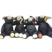 "Quality Stylish Children Stuffed homemade toys Denim bear 10"" for Holiday present for sale"