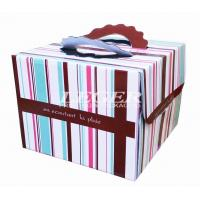 Wholesale OEM Corrugated Cardboard Boxes , Custom Birthday Cake Box with carry handles from china suppliers