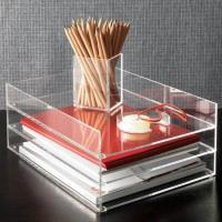 Wholesale Clear desk top Acrylic Storage Boxes , 2 tier acrylic file holder from china suppliers