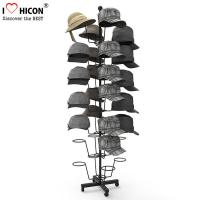 Quality Free Standing Metal Hat Display Stand 7-Layer Rotating Cap Rack For Retail Store for sale