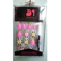 Wholesale Beatiful Pink artificial nail art gold glitter for Adult , Full sticker from china suppliers