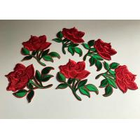Wholesale Flower Embroidered Iron On Appliques , Large Red Rose Floral Patches For Clothes from china suppliers