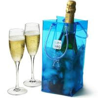 Quality Clear PVC Ice Bag Carrier For White Wine Cold Beer Chilled Beverages for sale