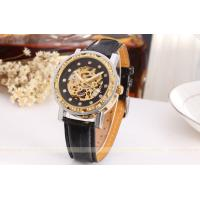 Wholesale Forsining Fashion Black Leather Ladies Automatic Watch Gold Skeleton from china suppliers