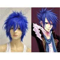 Buy cheap Vocaloid kaito Punk layered dark blue short cosplay wig 0058 from wholesalers