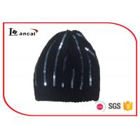 Wholesale Black Brushed Custom Winter Knit Hats Paillette Decoration For Ladies from china suppliers