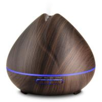 Wholesale Aromatherapy Essential Oil Diffuser 400ml Brown Wooden Aroma Diffuser with 7 Color LED Lights from china suppliers