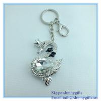 Wholesale Rhinestone swans pendant keychain pair from china suppliers