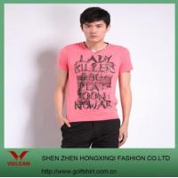 China Men's Pink Creative Letters Printed T-shirt on sale