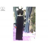 Special Pleated A Line Ball Gown , Beading Belt Sleeveless Sexy Black Prom Dress for sale