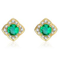 18k Gold Emerald Green Fashion Earrings Jewelry With Cluster Diamonds
